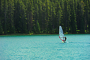 Windsurfing on Two Jack Lake in the Rocky Mountains<br />