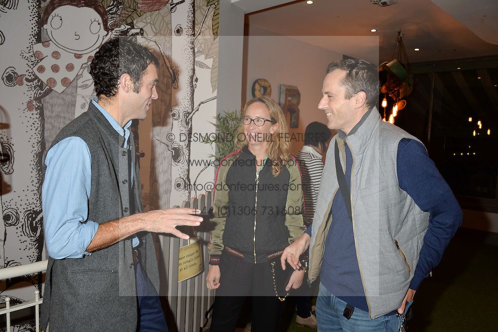 Left to right, HUGH VAN CUTSEM and HENRY & TARA LANE FOX at a Fondue evening hosted by Rose van Cutsem and her brother Tom Astor to celebrate the new ski Season with leading ski resort Meribel, Besson Clothing and ESF ski schools at Maggie & Rose, 58 Pembroke Road, London on 7th November 2016.