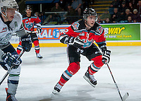 KELOWNA, CANADA - OCTOBER 11:   Jesse Lees #2 of the Kelowna Rockets skates on the ice against the Seattle Thunderbirds on October 11, 2013 at Prospera Place in Kelowna, British Columbia, Canada (Photo by Marissa Baecker/Shoot the Breeze) *** Local Caption ***