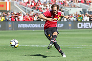 Manchester United Midfielder Daley Blind scores from the penalty spot during the AON Tour 2017 match between Real Madrid and Manchester United at the Levi's Stadium, Santa Clara, USA on 23 July 2017.