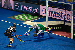 England's George Pinner saves from Tobias Hauke of Germany during the penalty shoot out. England v Germany - Semi-Final Unibet EuroHockey Championships, Lee Valley Hockey & Tennis Centre, London, UK on 27 August 2015. Photo: Simon Parker