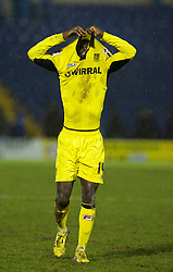 BURY, ENGLAND - New Year's Day Tuesday, January 1, 2013: Tranmere Rovers' Zoumana Bakayogo after the 1-0 victory over Bury during the Football League One match at Gigg Lane. (Pic by David Rawcliffe/Propaganda)