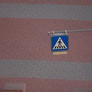Crosswalk sign at Ramstein AB KMCC Terminal