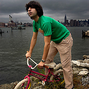 Dimitri Martin, winner of 2003 Perrier award for comedy, near his studio in Brooklyn, New York.