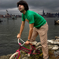 Dimitri Martin, winner of 2003 Perrier award for comedy, near his studio in Brooklyn, New York.