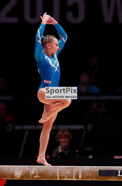 2015 Artistic Gymnastics World Championships being held in Glasgow from 23rd October to 1st November 2015.....Tea Ugrin (Italy) performs on the Balance Beam in the Women's All-Round Final...(c) STEPHEN LAWSON | SportPix.org.uk
