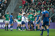 Sebastien Vahaamahina (FRA) made a sporting mistake and gave the penalty to Irland, Jonathan Sexton (IRL), Dan Leavy (IRL), Robbie Henshaw (IRL), Rob Kearney (IRL), Virimi Vakatawa (FRA) during the NatWest 6 Nations 2018 rugby union match between France and Ireland on February 3, 2018 at Stade de France in Saint-Denis, France - Photo Stephane Allaman / ProSportsImages / DPPI