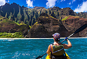 Sea kayaking along the Na Pali Coast, Island of Kauai, Hawaii