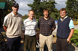 Left to right, cricketer MARTIN BICKNELL, cricketer ALASTAIR BROWN, footballer MATT LE TISSIER and MR GILES FOX at the Laurent-Perrier charity golf day held at Foxhills golf Club, Surrey in aid of the charity CLIC on 14th September 2004.<br />