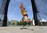 May 24, 2019; Sacramento, CA, USA; Samantha Noennig of Arizona State throws in the women's discus during the NCAA West Preliminary at Hornet Stadium.