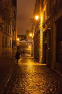 France. Paris. 4th district. rue des barres rue du grenier sur l' eau , le marais , under the rain at night  Paris / paris sous la pluie, le marais  la nuit