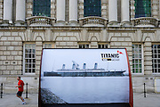 Belfast. City Hall with a Titanic picture.
