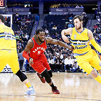 18 November 2016: Denver Nuggets forward Danilo Gallinari (8) drives past Toronto Raptors forward DeMarre Carroll (5) on a screen set by Denver Nuggets center Jusuf Nurkic (23) during the Toronto Raptors 113-111 OT victory over the Denver Nuggets, at the Pepsi Center, Denver, Colorado, USA.
