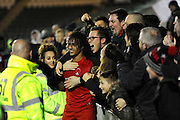 Sandro Semedo (22) of Leyton Orient  of Leyton Orient celebrates the 3-2 win over Plymouth with the fans at full time during the EFL Sky Bet League 2 match between Plymouth Argyle and Leyton Orient at Home Park, Plymouth, England on 14 February 2017. Photo by Graham Hunt.