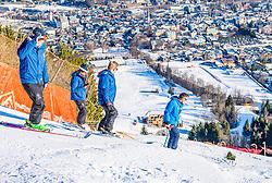10.01.2020, Streif, Kitzbühel, AUT, FIS Weltcup Ski Alpin, Schneekontrolle durch die FIS, im Bild v.l. Jan Überall (KSC), Herbert Hauser (Pistenchef Streif), Michael Huber (OK Chef Hahnenkammrennen), Hannes Trinkl (FIS Renndirektor) // f.l. Jan Überall (KSC) Herbert Hauser slope Manager Streif Michael Huber OK Chief Hahnenkamm race and Hannes Trinkl FIS Racedirector during snow control by the FIS for the FIS ski alpine world cup at the Streif in Kitzbühel, Austria on 2020/01/10. EXPA Pictures © 2020, PhotoCredit: EXPA/ Stefan Adelsberger