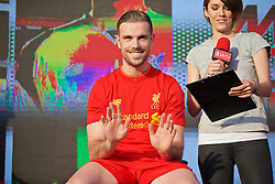 LIVERPOOL, ENGLAND - Monday, May 9, 2016: Liverpool's captain Jordan Henderson at the launch of the New Balance 2016/17 Liverpool FC kit at a live event in front of supporters at the Royal Liver Building on Liverpool's historic World Heritage waterfront. (Pic by Lexie Lin/Propaganda)