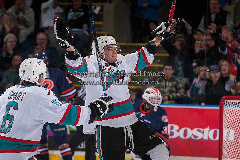 KELOWNA, CANADA - APRIL 1:  Rodney Southam #17 of Kelowna Rockets celebrates his third goal and a second period hat trick against the Kamloops Blazers on April 1, 2016 at Prospera Place in Kelowna, British Columbia, Canada.  (Photo by Marissa Baecker/Shoot the Breeze)  *** Local Caption *** Rodney Southam;