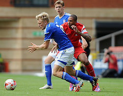 Leyton Orient's Shaun Batt tussles for the ball with Ipswich Town's Jonathan Parr - photo mandatory by-line David Purday JMP- Tel: Mobile 07966 386802 02/08/14 - Leyton Orient v Ipswich Town - SPORT - FOOTBALL - Pre season - London -  Matchroom Stadium