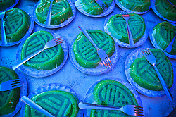 Wrapped green cakes set up with forks for a wedding party in Khanh Hoa Province, Vietnam, Southeast Asia