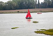 Mirror sailing dinghy River Deben, Woodbridge, Suffolk, England, UK