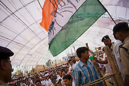 Crowds arrive and await Rahul Gandhi's arrival at the congress party rally for the Lok Sabha elections of 2009 in Pripariya town of Hoshangabad, in Madhya Pradesh state, India on 21st of April 2009.   Photo by Suzanne Lee for The National.