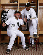 TUCSON - FEBRUARY 25:  Orlando Cabrera #18 and Nick Swisher #30 of the Chicago White Sox strike a pose during a photo shoot in Tucson, Arizona on February 25, 2008  (Photo by Ron Vesely)