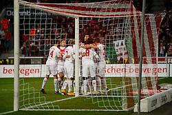 06.12.2014, RheinEnergieStadion, Köln, GER, 1. FBL, 1. FC Köln vs FC Augsburg, 14. Runde, im Bild Jonas Hector #14 (1. FC Köln / Koeln), Marcel Risse #7 (1. FC Köln / Koeln) und Anthony Ujah #9 (1. FC Köln / Koeln) freuen sich ueber das Tor zum 1:0. Aktion, Action, Querformat, Gestik, Spass, Freude, Jubel, Gut gelaunt, Begeistert // during the German Bundesliga 14th round match between 1. FC Cologne and FC Augsburg at the RheinEnergieStadion in Köln, Germany on 2014/12/06. EXPA Pictures © 2014, PhotoCredit: EXPA/ Eibner-Pressefoto/ Grimme<br /> <br /> *****ATTENTION - OUT of GER*****