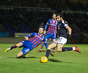 30th January 2018, Tulloch Caledonian Stadium, Inverness, Scotland; Scottish Cup 4th round replay, Inverness Caledonian Thistle versus Dundee; Inverness Caledonian Thistle's Brad McKay can't block Dundee's Sofien Moussa's shot