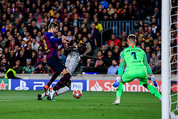 May 1, 2019 - Barcelona, BARCELONA, Spain - 08 Naby Keita of Liverpool FC defended by 03 Gerard Pique of FC Barcelona during the UEFA Champions League first leg match of Semi final between FC Barcelona and Liverpool FC in Camp Nou Stadium in Barcelona 01 of May of 2019, Spain. (Credit Image: © AFP7 via ZUMA Wire)