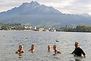 Lucerne, SWITZERLAND.  CAN W8+ Vrew swim in Lake Lucerne, on Sat evening, at the  2008 FISA World Cup Regatta, Round 2.  Lake Rotsee, on Saturday, 31/05/2008.   [Mandatory Credit:  Peter Spurrier/Intersport Images].Lucerne International Regatta. Rowing Course, Lake Rottsee, Lucerne, SWITZERLAND.