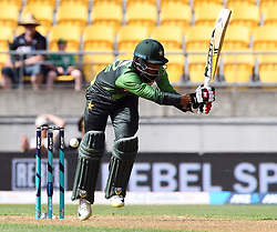 Pakistan's Hasan Ali plays and misses against New Zealand in the first T20 International Cricket match, Westpac Stadium, Wellington, New Zealand, Monday, January 22, 2018