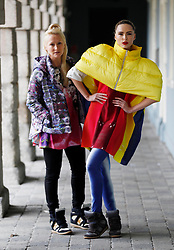 Repro Free: 06/01/2013 Designer Helen Steele is pictured with model Sarah Morrissey wearing a her duvet jacket and hand printed leggings and t-shirt showcasing the best of Showcase Fashion 2013. Showcase, Ireland's Creative Expo and the country's largest international trade fair, returns to the RDS this January, attracting buyers from over 17 countries keen to discover exciting and innovative new Irish products. Now in its 37th year, Showcase features over 400 of Ireland's leading designers, manufacturers and craftspeople delivering high quality products that are often unique to the show.   .This year's event, which takes place at the RDS from January 20th to 23rd 2013, focuses on two key strands - Fashion & Jewellery and Home & Giftware, with other exciting features such as 'Creative Island', an expanded 'Enterprise Zone', 'Selected at Showcase' and the ?Showcase Awards Programme?, networking events and the popular seminar programme featuring top international industry experts. Pic Andres Poveda.