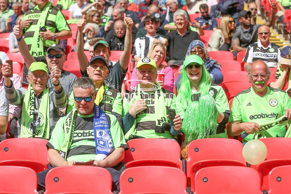 Forest Green Rovers suppoters during the Vanarama National League Play Off Final match between Tranmere Rovers and Forest Green Rovers at Wembley Stadium, London, England on 14 May 2017. Photo by Shane Healey.