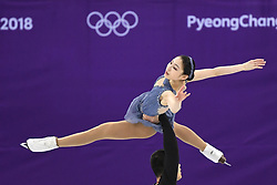 PYEONGCHANG, Feb. 15, 2018  Yu Xiaoyu (Top) and Zhang Hao of China compete during the pair skating free skating of figure skating at the 2018 PyeongChang Winter Olympic Games, in Gangneung Ice Arena, South Korea, on Feb. 15, 2018. Yu Xiaoyu and Zhang Hao got the 8th place in the pair skating event with 204.10 points in total. (Credit Image: © Ju Huanzong/Xinhua via ZUMA Wire)