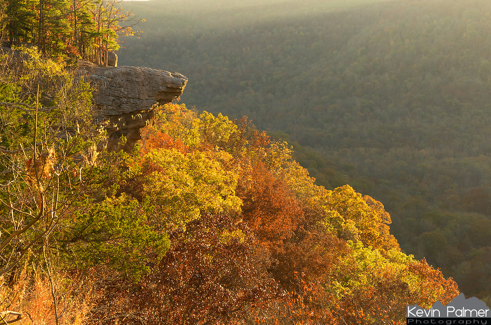 Hawksbill Crag is one of the most recognizable landmarks in Arkansas. After driving a rough dirt road up Cave Mountain, the trailhead sits at the edge of the Upper Buffalo Wilderness. The trail passes several creekbeds and waterfalls, but they were all dry this time of year. This rocky overhang which is also known as Whitaker Point, is bigger than it looks. Sunrise is a great time to watch the valley fill with golden sunlight. But I only had minutes to take pictures on this morning since the sun soon went behind a cloud deck and the light went flat.