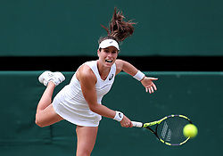 File photo dated 13-07-2017 of Johanna Konta in action against Venus Williams on day ten of the Wimbledon Championships at The All England Lawn Tennis and Croquet Club, Wimbledon.