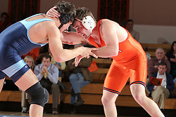 Kyle Narkiewicz takes on UNC's Justin Dobies in the 184lb match.  Narkiewicz lost the match 5-2 but UVA beat the Tar Heels 27-10.