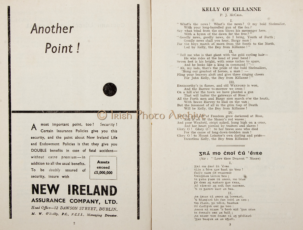 All Ireland Senior Hurling Championship Final,.Programme,.02.09.1951, 09.02.1951, 2nd September 1951,.Wexford 3-9, Tipperary 7-7,.Minor Cork v Galway, .Senior Wexford v Tipperary, .Croke Park, ..Advertisements, Another Point!, New Ireland Assurance Company Ltd, ..Poems, Kelly of Killanne, Gra Mo Croi Tu Eire,