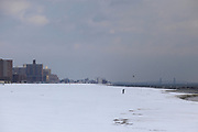 Brooklyn's Brighton Beach is deserted after a recent blizzard. (The Wall Street Journal)