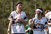 Players with face paint at the 7th Annual Quidditch World Cup April 5, 2014 in Myrtle Beach, South Carolina. The sport, created from the Harry Potter novels is a co-ed contact sport with elements from rugby, basketball, and dodgeball. A quidditch team is made up of seven athletes who play with broomsticks between their legs at all times.