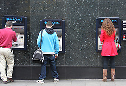 © under license to London News Pictures. 05/052011. Customers withdrawing cash from Barclays cash machines, Barclays Bank, Charing Cross Road, London on the day the Bank of England has kept the Bank of England interest rate at at record low of 0.5%. . Thursday 5th May 2011.Picture credit should read: Kevin Dunnett / London New Pictures