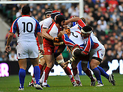 Twickenham, GREAT BRITAIN, Englands Forwards turn over the Islanders hooker Aleki LUTUI, during the Investic Challenge, England vs Pacific Islanders, at Twickenham Stadium, Surrey on Sat 08.11.2008 [Photo, Peter Spurrier/Intersport-images]