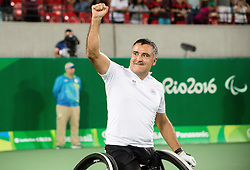 Stephane Houdet  and Nicolas Peifer (out of frame) of France react after winning against Alfie Hewett (out of frame) and Gordon Reid (out of frame) of the UK in the Tennis Men's Doubles Gold Medal Match during Day 8 of the Rio 2016 Summer Paralympics Games on September 15, 2016 in Olympic Tennis Centre, Rio de Janeiro, Brazil. Photo by Vid Ponikvar / Sportida