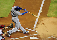 Jul. 17 2011; Phoenix, AZ, USA; Los Angeles Dodgers outfielder Matt Kemp (27) bats against the Arizona Diamondbacks at Chase Field. The Dodgers defeated the Diamondbacks 6-4.  Mandatory Credit: Jennifer Stewart-US PRESSWIRE..