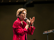 09 JUNE 2019 - CEDAR RAPIDS, IOWA: US Senator ELIZABETH WARREN (D-MA) speaks at the Iowa Democrats 2019 Hall of Fame Celebration in the Cedar Rapids Convention Center. Nineteen of the Democratic candidates for president in 2020 spoke at the annual event. Iowa traditionally hosts the the first election event of the presidential election cycle. The Iowa Caucuses will be on Feb. 3, 2020.                          PHOTO BY JACK KURTZ