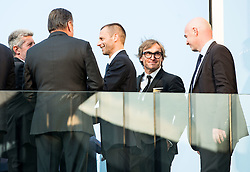 Drago Cotar of NK Maribor, Zoran Jankovic, Mayor of Ljubljana, Aleksander Ceferin, president of Football Association of Slovenia and Gianni Infantino, president of FIFA  during Official opening of the Slovenian National football centre Brdo (Nacionalni nogometni center Brdo), on May 6, 2016, in Brdo pri Kranju, Slovenia. Photo by Vid Ponikvar / Sportida