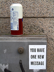 NETHERLANDS AMSTERDAM 02JAN09 - Funny sign stuck to a utility box on the street in Amsterdam...jre/Photo by Jiri Rezac