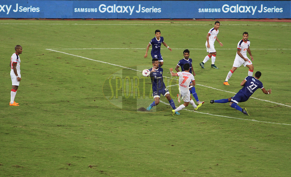 Chennaiyin FC and Delhi Dynamos FC players in action during match 45 of the Indian Super League (ISL) season 2 between Chennaiyin FC and Delhi Dynamos FC held at the Jawaharlal Nehru Stadium, Chennai, Tamil Nadu, India on the 24th November 2015.<br /> <br /> Photo by Arjun Panwar / ISL/ SPORTZPICS
