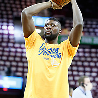 08 June 2016: Golden State Warriors center Festus Ezeli (31) warms up prior to the Cleveland Cavaliers 120-90 victory over the Golden State Warriors, during Game Three of the 2016 NBA Finals at the Quicken Loans Arena, Cleveland, Ohio, USA.