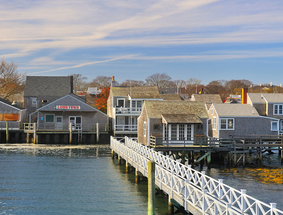 View of the island of Nantucket from the ferry arriving at Nantucket Harbor in November 2010, Nantucket, Massachusetts, USA.
